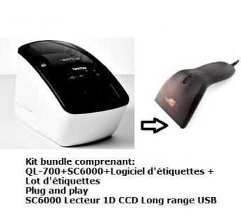 Kit bundle imprimante + lecteur 1D ccd Long Range USB +logiciel + étiquettes