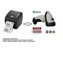 Kit bundle imprimante thermique directe + pistolet 1D BT laser+ logiciel + étiquettes